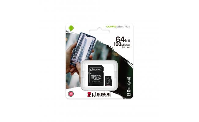 Kingston Canvas Select Plus microSD Card 64GB + SD Adapter