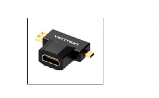 Mini HDMI+Micro HDMI to HDMI Female Adapter Black