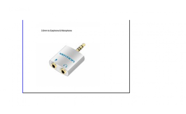 4 Pole 3.5mm Male to 2*3.5mm Female Audio Splitter with Separated Audio and Microphone Port Slivery