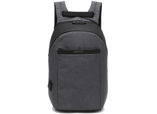 BACKPACK LAPTOP USB+AUX+SEC LOCK SUMFFIS GREY