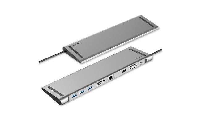 Vention Type-C Male to USB3.0 Female A/HDMI Female A/VGA Female/RJ45 /SD/TF/3.5mm/PD Docking Station