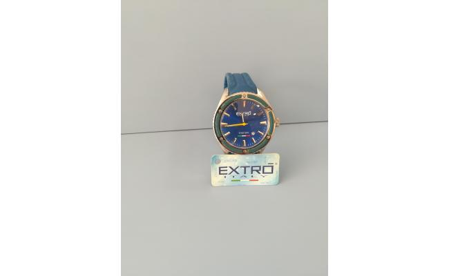 EXTRO Wrist Watch SILVER INDEX BLUE SILICON