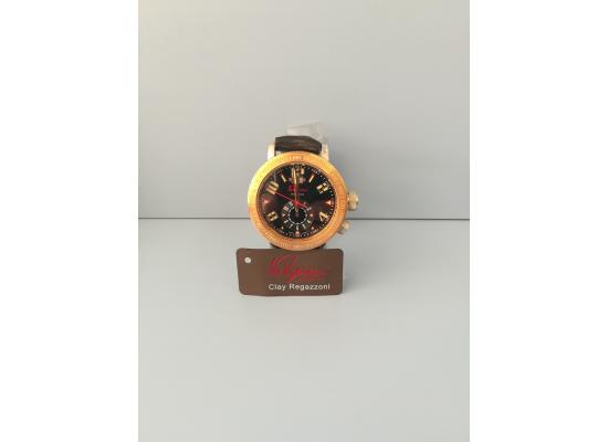Clay Regazzoni Wrist Watch DUAL TIME BLACK LEATH