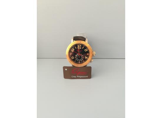 Clay Regazzoni Wrist Watch DUAL TIME BLACK LEATH