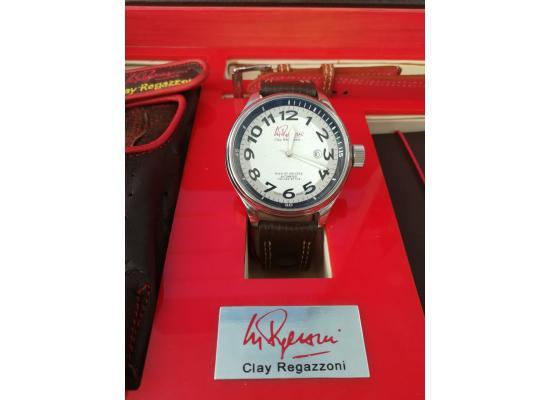 Clay Regazzoni Wrist Watch GLASS SILV DIAL BLK