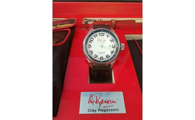 Clay Regazzoni Wrist Watch GLASS SILV DIAL BLK
