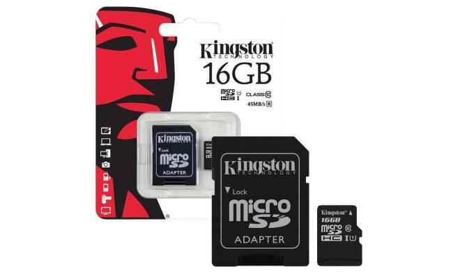 Kingston microSD 16GB + SD Adapter