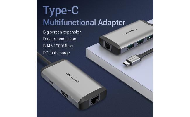 Vention Type-C to HDMI/3XUSB3.0/RJ45/PD