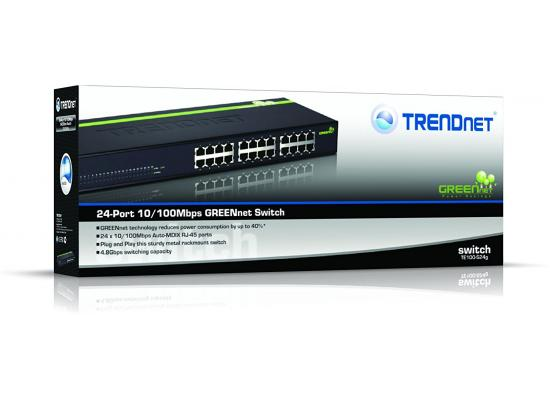 Trendnet 24-port 10/100Mbps Green Rackmount Switch